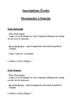 Ecoles – Inscription – Liste des documents à fournir